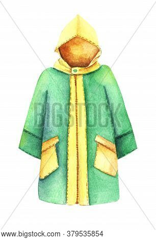 Watercolor Image Of Yellow And Green Slicker Isolated On White Background. Autumn Special Clothes Pr