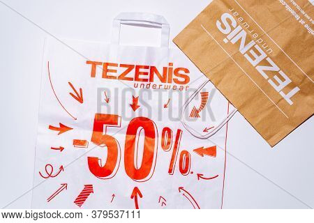 Tyumen, Russia-august 01, 2020: Shopping Bags, Top View. Tezenis Logo. Tezenis Is An Italian Fashion