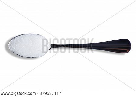 Teaspoon With Sugar On White Background Isolation, Top View
