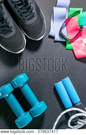 Fitness Sneakers, Fitness Bracelet, Jump Rope, Dumbbells, Elastic Expander At The Ankles. Lifestyle