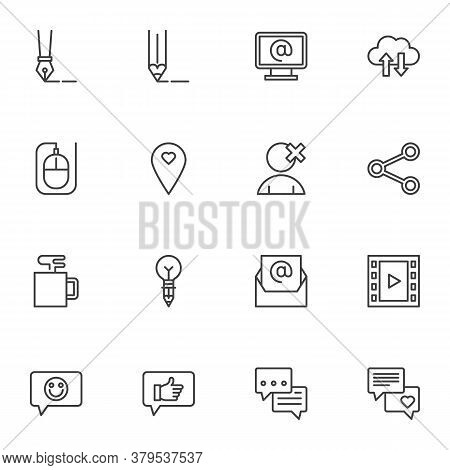 Blogging, Social Media Line Icons Set, Outline Vector Symbol Collection, Linear Style Pictogram Pack