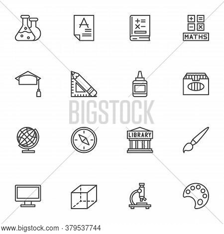 Science Education Line Icons Set, Outline Vector Symbol Collection, Linear Style Pictogram Pack. Sig