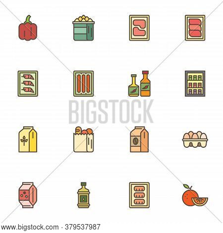 Grocery Products Filled Outline Icons Set, Line Vector Symbol Collection, Linear Colorful Pictogram