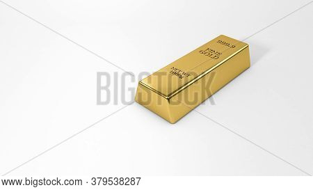 Gold Bar Isolated On White Background. Financial Concept,gold Bullion Close-up, 3d Rendering