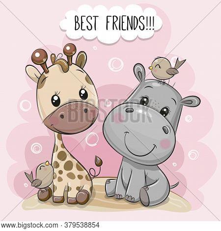 Cute Cartoon Hippo And Giraffe On A Pink Background