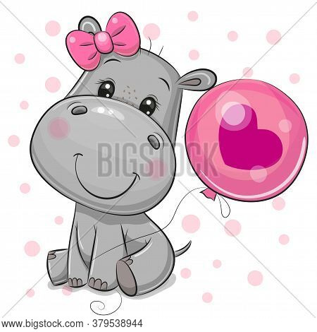 Cute Cartoon Hippo Girl With Pink Balloon On A White Background