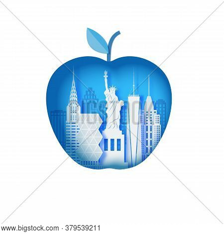 New York Landscape In Apple Form Frame In Paper Cut Style. Cut Out Map Silhouette Skyscraper, Statue