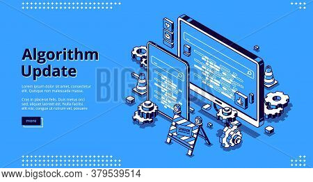 Algorithm Update Isometric Landing Page. Programming, Digital Optimization For Devices Concept With