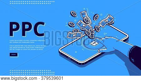 Pay Per Click Banner. Online Promotion, Internet Advertising With Driving Traffic To Website. Vector