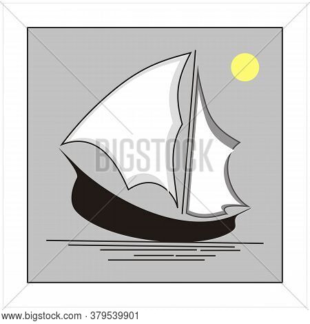 Silhouette Of Ship Logo Design With Moon  Traditional Sailboat From Asia / Africa