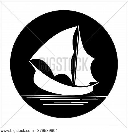 Ship Yacht Silhouette Traditional Ship Logo Design At Sea With White Sailing Ship