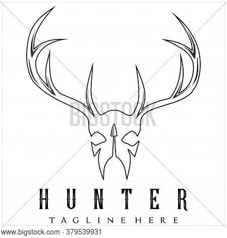 Skull Head Deer Buck Antler Arrowhead For Hunting Logo Design Inspiration