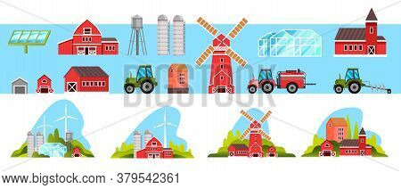 Farm Village Collection With Mill, Barn, Tractor, Greenhouse, Wind Turbine, Solar Panel, Red Houses.