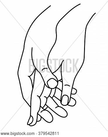 Female And Male Hand. Concept - Tenderness, Love And Passion. Linear Hand Drawing. Isolated On White