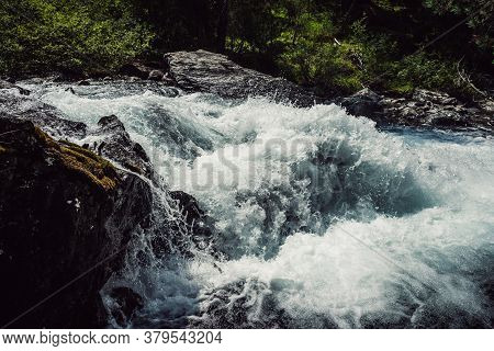 Big Rapids Of Powerful Mountain River. Beautiful Background With Azure Water In Fast River. Frozen M