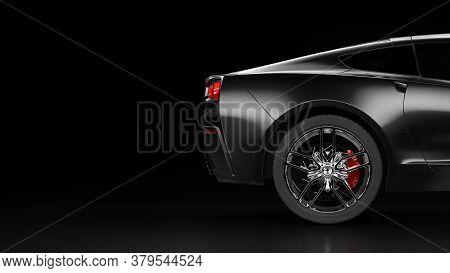 3d Rendering Of A Modern Black Sedan Car With Studio Light. 3d Illustration Of Brandless Car