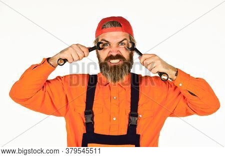 Automotive Service Technicians And Mechanics. Service And Engineering Concept. Man Hold Wrench Tools