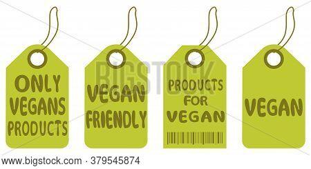 Vegan Tags. Eco, Organic Food Labels. Collection Of Vegetarian Labels. Natural, Organic Food, Bio, E