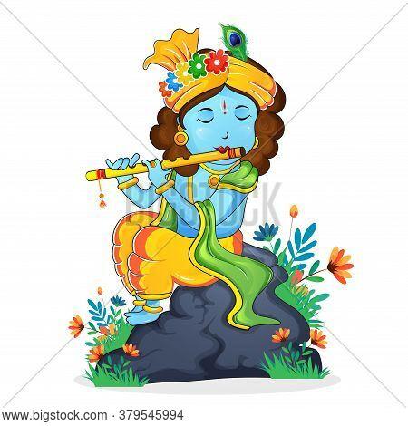 Illustration Of Happy Janmashtami Birthday Of Lord Krishna, Festival Of India. Lord Krishna Playing