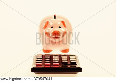 Accounting Business. Piggy Bank Symbol Money Savings. Investments Concept. Helping Make Smart Financ
