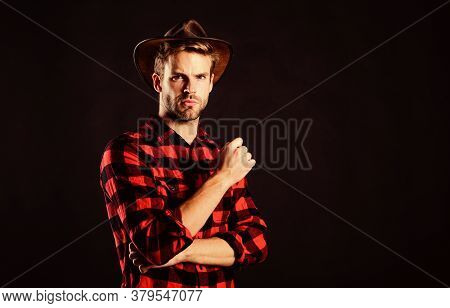 Nostalgia. Man Checkered Shirt On Ranch. Wild West Rodeo. Handsome Man In Hat. Cowboy In Country Sid