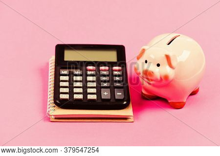 Trading Exchange. Trade Market. Finance Control. Credit Concept. Calculate Profit. Piggy Bank Pink P