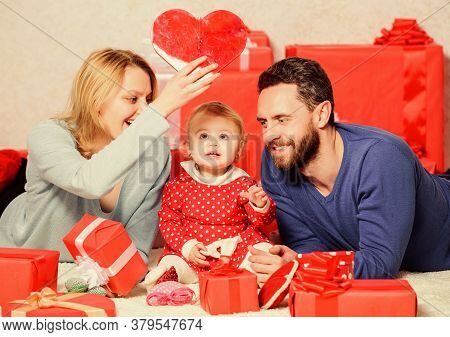 Lovely Family Celebrating Valentines Day. Happy Parents. Life Can Not Be Better. Family Celebrate An