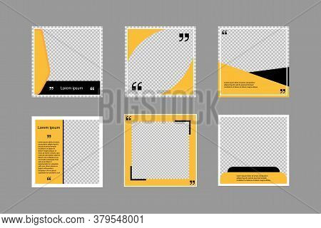 Set Of Editable Square Banners. Social Media Poster Template In Black And Yellow. Square Frame With