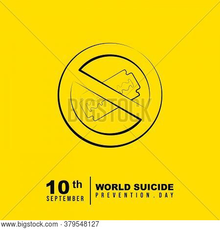 World Suicide Prevention Day Design With Stop Using Gillette Knife Vector Illustration