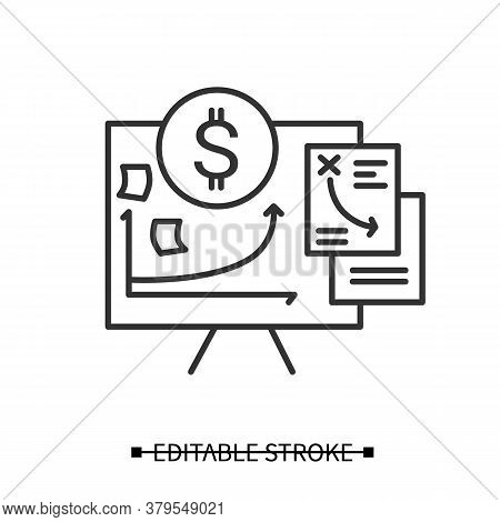 Financial Plan Icon. Project Cost Planning Presentation Line Pictogram. Concept Of Budget, Finance A
