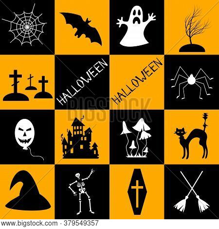 Halloween Symbols Collection. Set Of 16 Halloween Elements. Bat, Ghost, Spider, Scary House, Black C