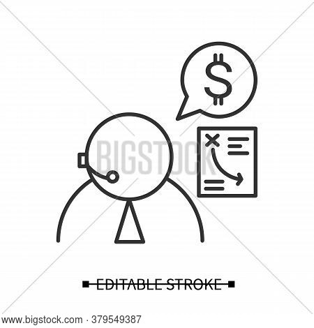 Financial Advisor Icon. Personal Finances Consultant Wearing Headset Linear Pictogram. Concept Of Ta