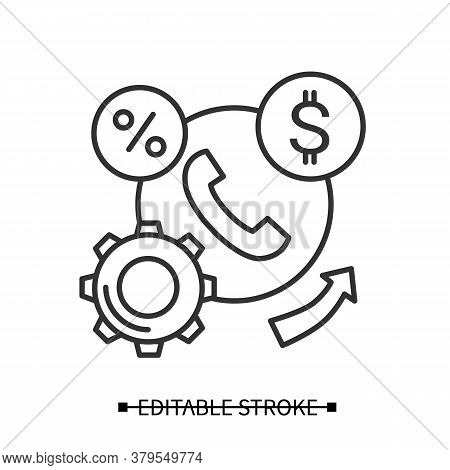 Financial Services Icon. Business Infrastructure And Process Linear Pictogram. Concept Of B2b And Ba