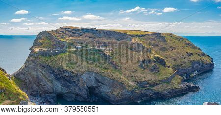 Tintangel, North Cornwall, England - July 24,2018: Ruins Of Ancient Tintagel Castle, Tintagel, A Vil