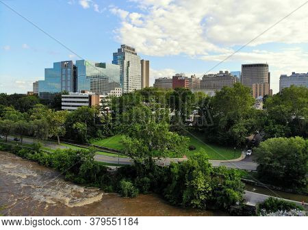 Wilmington, Delaware, U.s.a - August 4, 2020 - The Aerial View Of The Brandywine River, Downtown Bui
