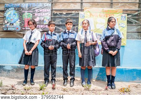 Lima, Lima / Peru - November 11 2016: Young Students With Uniform Of Ramon Castilla School Attend Cl