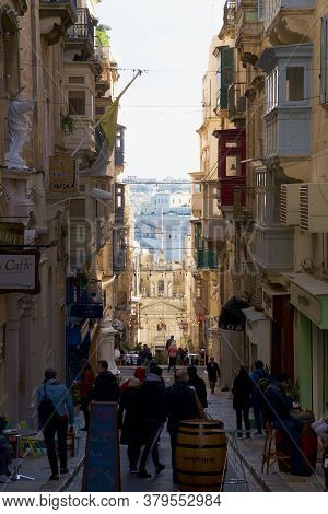Valletta, Malta - Dec 31st, 2019 Typical Maltese Buildings With Gallarija, Traditional Enclosed Wood