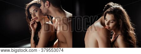 Collage Of Beautiful Woman In Bra Standing Near Shirtless Man On Black