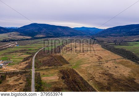 Top View Of The Village And Ukrainian Off-road, Villages Of The Ukrainian Carpathians, Highway Witho