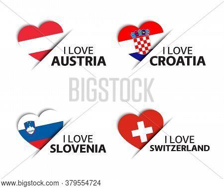 Set Of Four Austrian, Croatian, Slovenian And Swiss Heart Shaped Stickers. I Love Austria, Croatia,