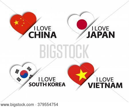 Set Of Four Chinese, Japanese, Korean And Vietnamese Heart Shaped Stickers. I Love China, Japan, Sou