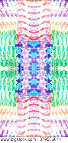 Shibori Flowers. Aquarelle Pattern. Seamless Ornament. Artistic Vivid Tie-dye Decoration. Repeat Tex