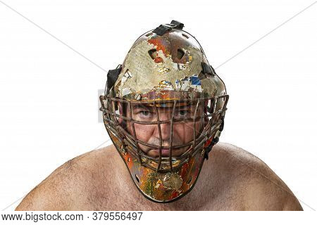 Defender. Portrait Of A Brutal Man In A Protective Mask. The Concept Of Defense And Protector. Decis