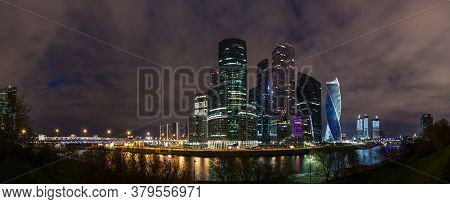 Picturesque Night View Of The Moscow City Across The River Moscow With Reflection In Water, Moscow,