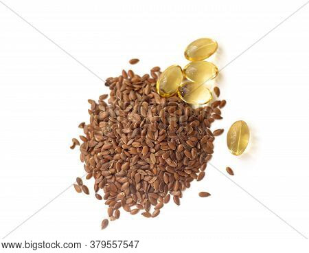 Linseed And Fish Oil On A White Background.