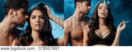 Collage Of Woman In Bra Smoking Cigarette Near Shirtless Boyfriend On Black With Smoke