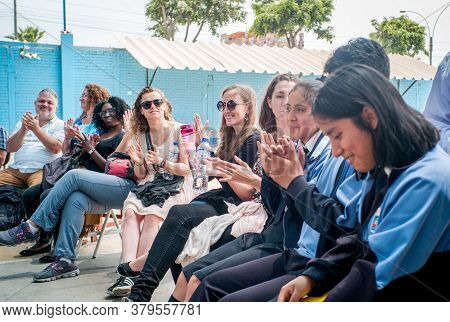 Lima / Peru - November 11 2016: Young Students With Uniform Of Ramon Castilla School Sitting In The