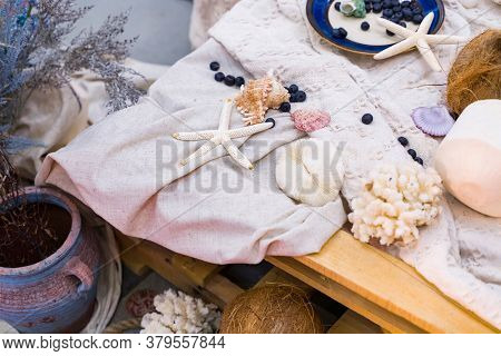 Beach Themed Ocean Wedding Reception Decorations. Party Centerpiece with Starfish