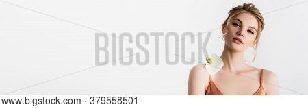 Elegant Beautiful Blonde Woman Holding Calla Flower On Shoulder Isolated On White, Panoramic Shot