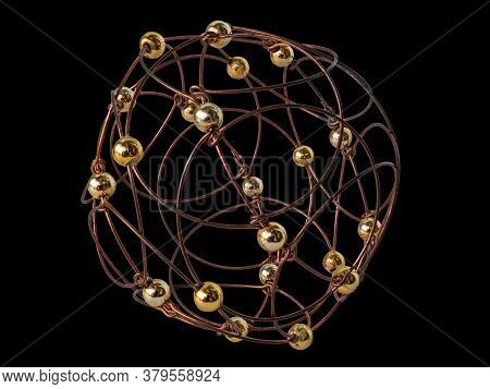 A Puzzle Hand-made From Wire And Balls. It Is A Stylized Openwork Sphere. Isolated On Black Backgrou